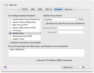 Einstellungen eines SOCKS-Proxyservers