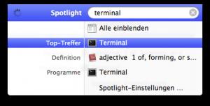 Auswählen des Terminals in Spotlight